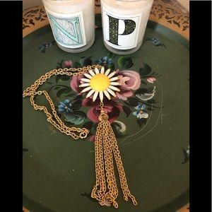 Vintage Daisy Gold Tassel Necklace
